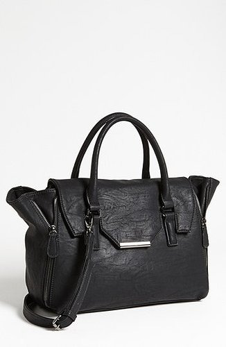 Expressions NYC Faux Leather Satchel Black