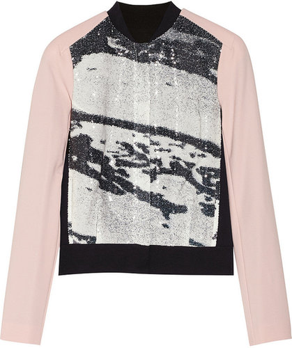 Diane von Furstenberg Anniemae sequined crepe and stretch-ponte bomber jacket