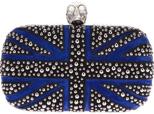 Alexander McQueen Union Jack studded skull clutch