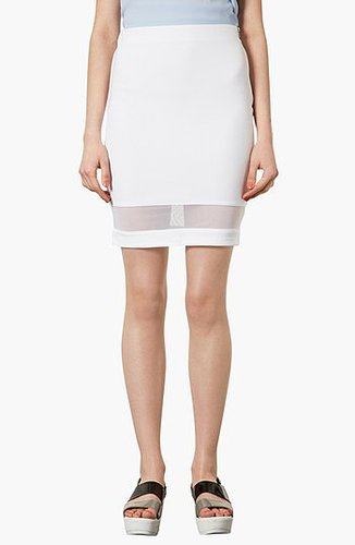 Topshop Mesh Panel Pencil Skirt White 8