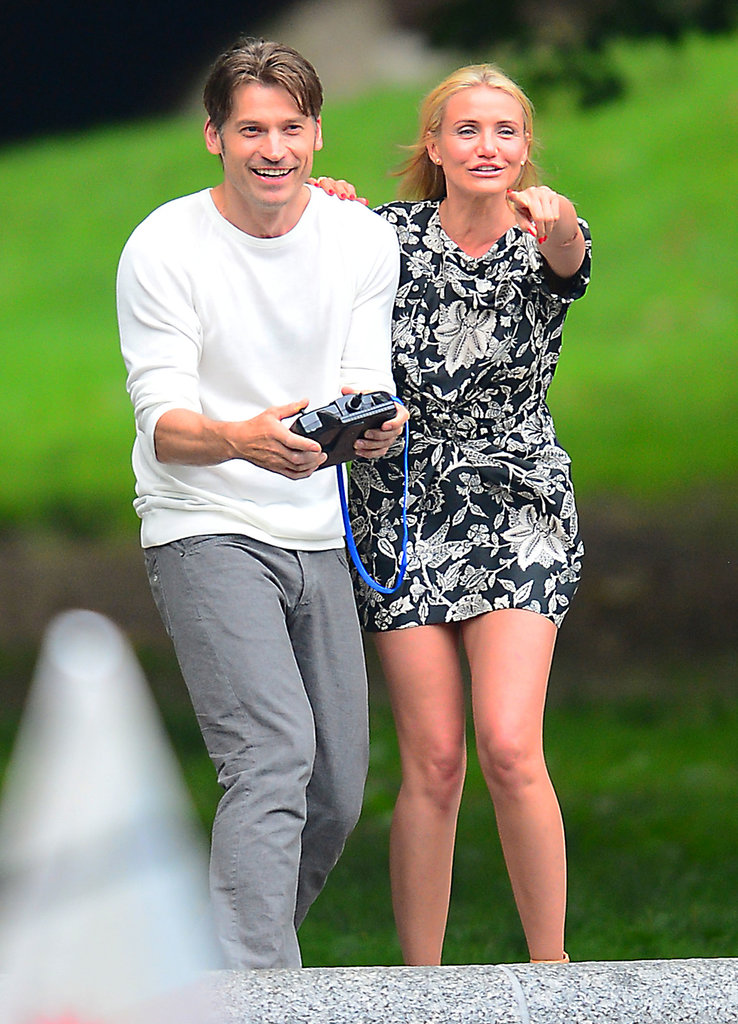 Cameron Diaz had fun on the set of The Other Woman in a black-and-white floral-print dress. Score a similar mini in a dark palette to re-create Cameron's look this Summer.