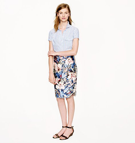 Live out your Summer days in J.Crew Collection's Mai Tai Floral Skirt ($258) with bare legs and colorful heels — then add black tights and ankle boots for Fall.