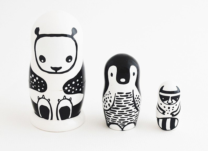 Wee Gallery Black and White Nesting Dolls