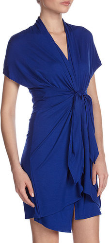 Isda & Co Jersey Front-Wrap Dress, Blue