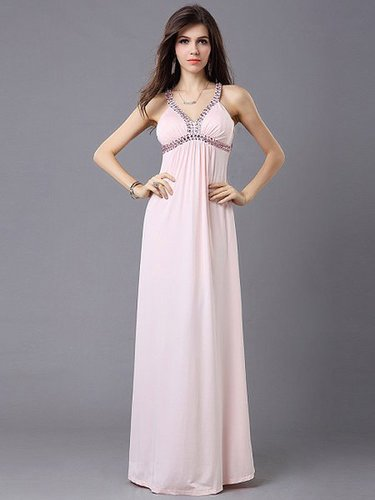 Pink Spaghetti Strap Beaded A-line Evening Quinceanera dress BD1010