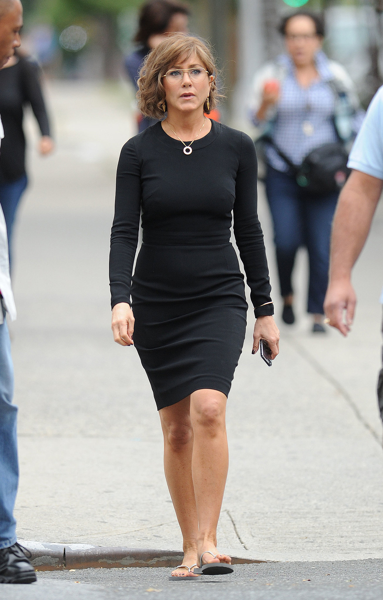 Jennifer Aniston wore her glasses on set on July 25.