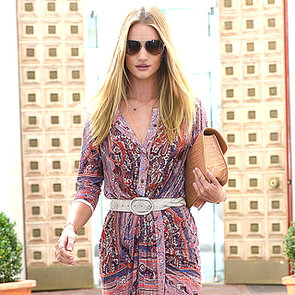 Rosie Huntington-Whiteley in Printed Dress | Street Style