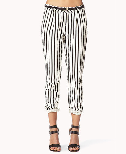 FOREVER 21 Striped Denim Trousers