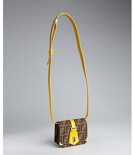Fendi tobacco and leather zucca canvas mini shoulder bag