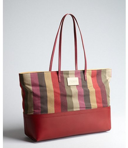 Fendi red and olive leather and stripe canvas tote bag