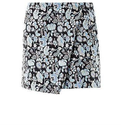 MSGM Floral-brocade wrap skirt