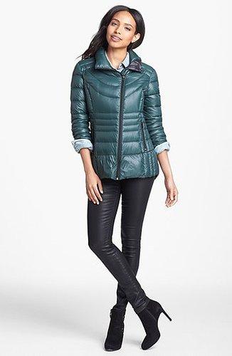 Bernardo Asymmetrical Zip Packable Goose Down Jacket Small