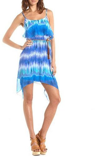 Belted Ruffle Bust Tie-Dye Dress
