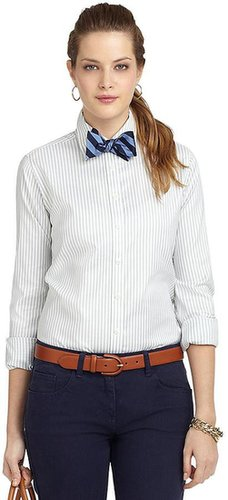 Non-Iron Classic Fit Wide Stripe Dress Shirt