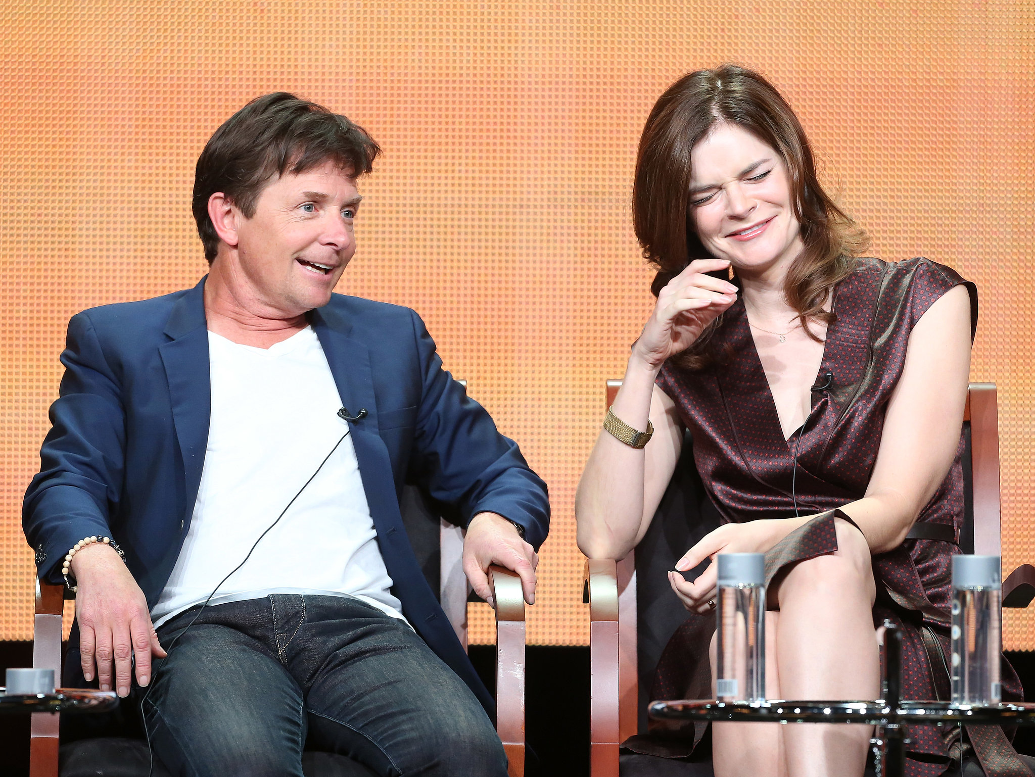 Betsy Brandt and Michael J. Fox joked around on stage.