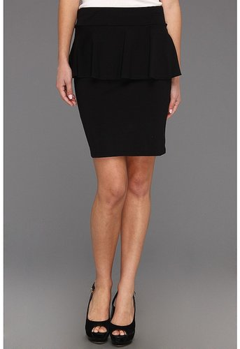 kensie - Lightweight Cotton Spandex Peplum Skirt (Black) - Apparel