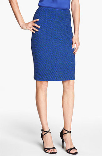 St. John Collection Ivy Tweed Pencil Skirt Vivid Blue Multi 14