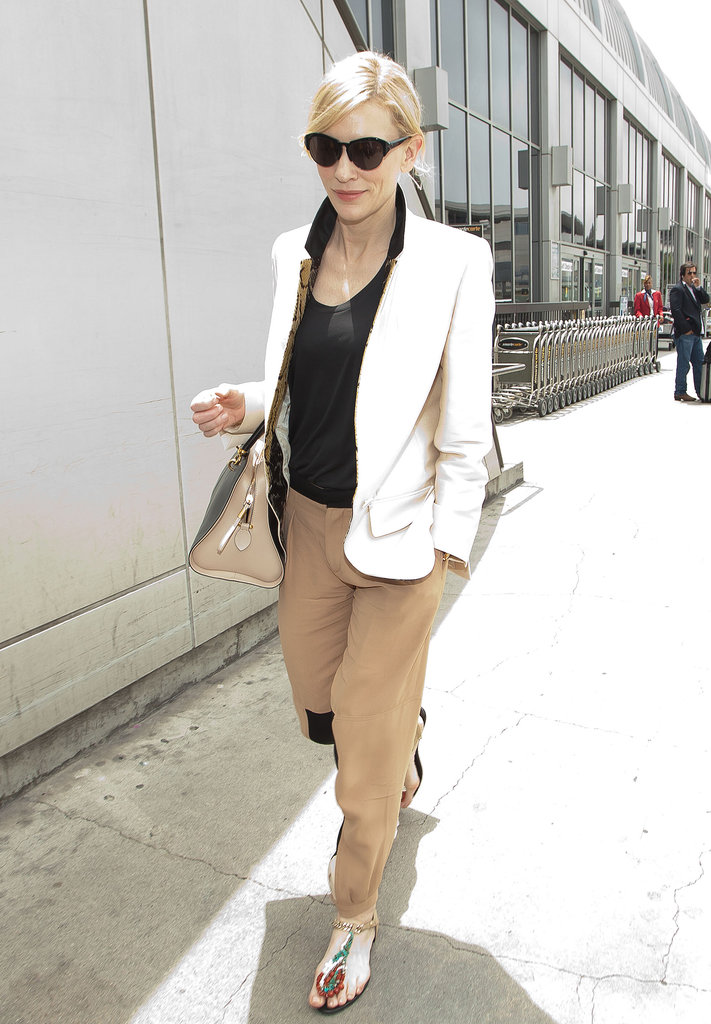 Cate Blanchett Arrived At Lax In A Chic Pairing A White Blazer Tan 71 Style Tips To Steal