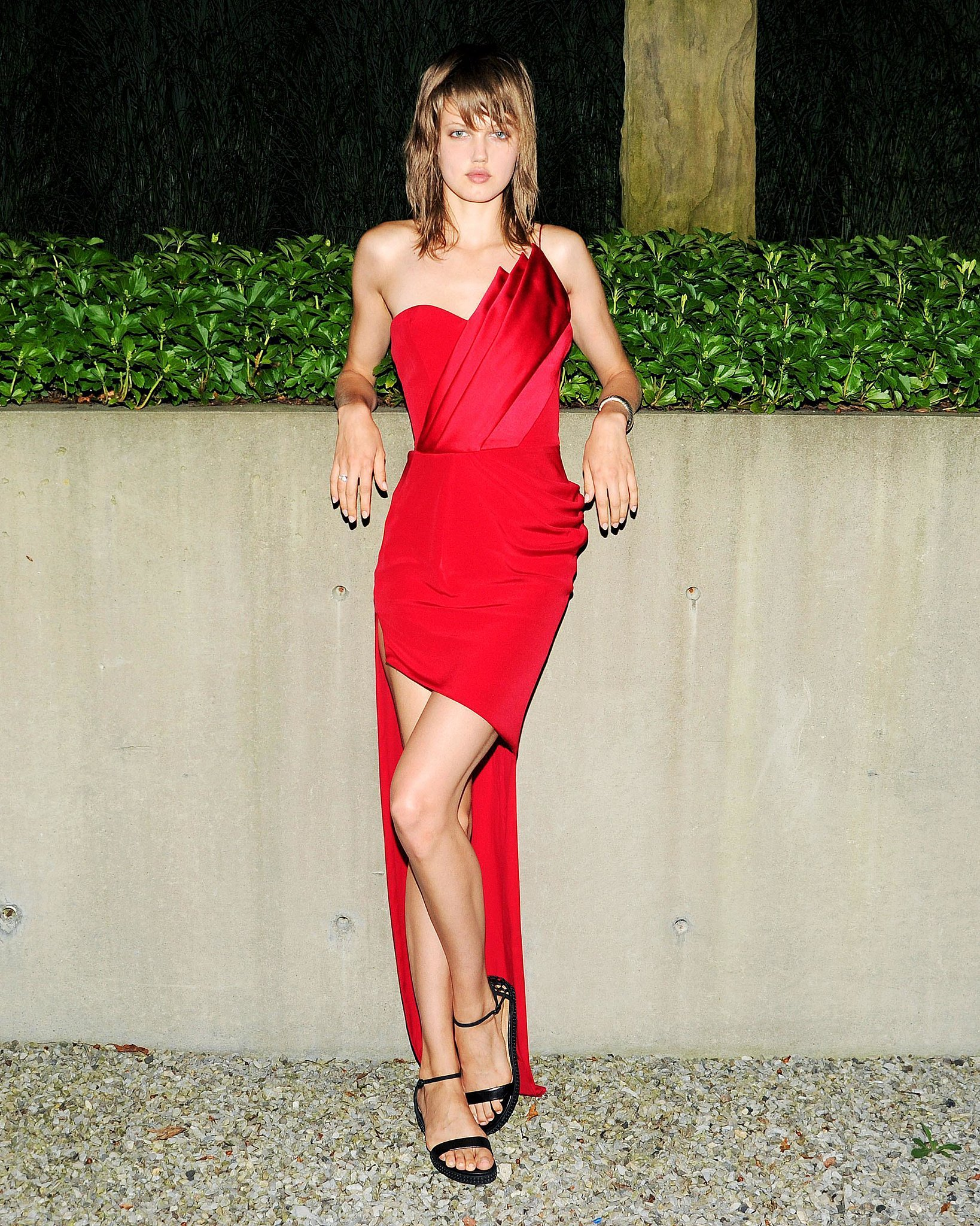 Staying on theme, Lindsey Wixson looked sinister in Gabriela Cadena at the Devil's Heaven bash to benefit the Watermill Center.