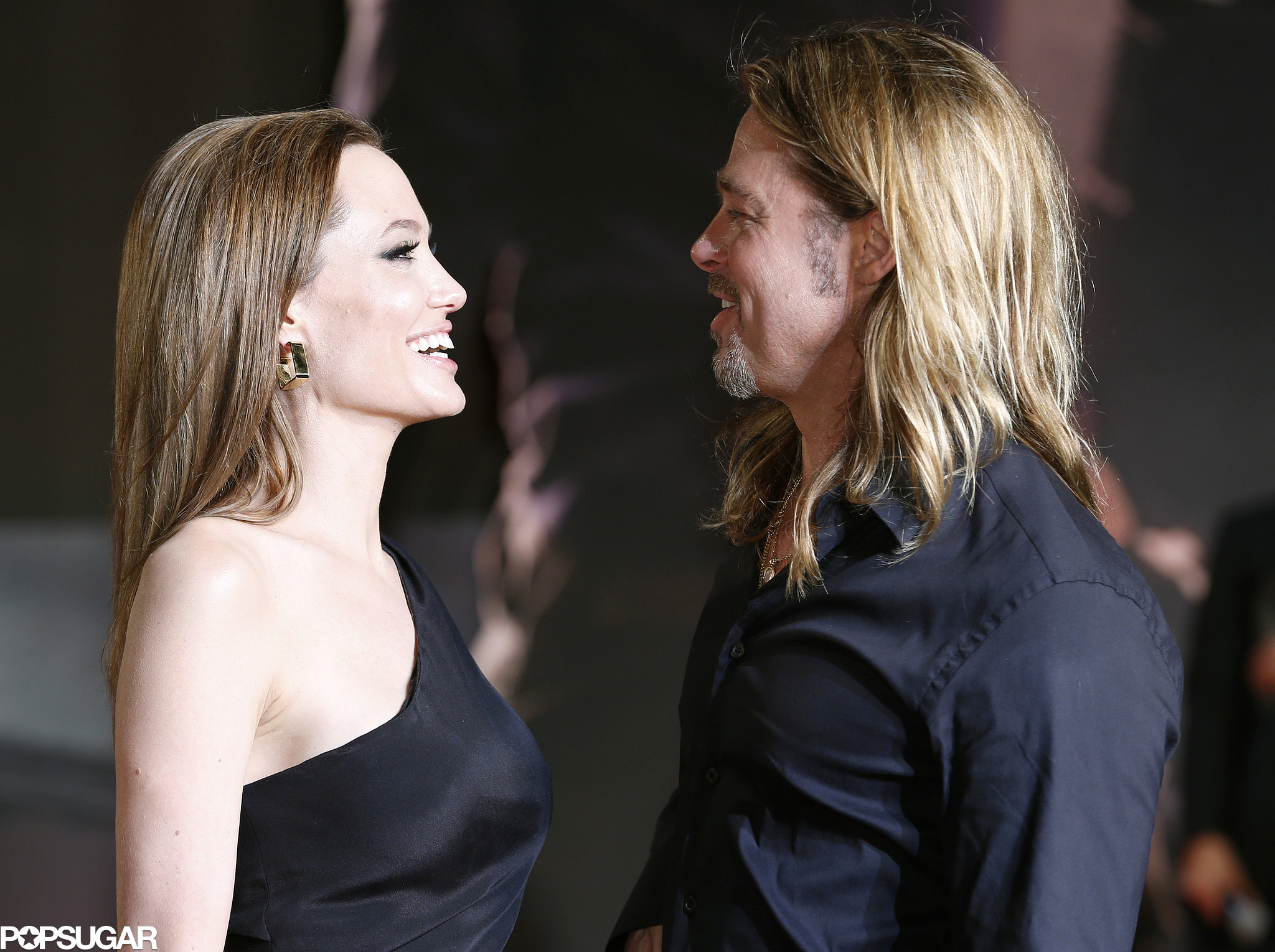 Brad Pitt and Angelina Jolie shared a laugh on the red carpet.
