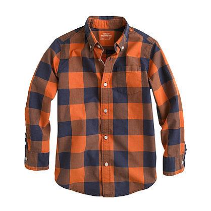 Boys' Secret Wash Shirt in Two-Tone Giant Gingham ($40)