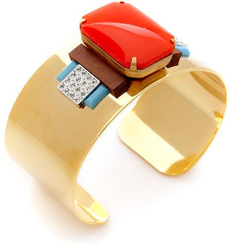 Coral & Wood Cuff Bracelet