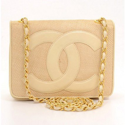 excellent (EX) Chanel Beige Straw and Leather Shoulder Bag Gold Chain CC