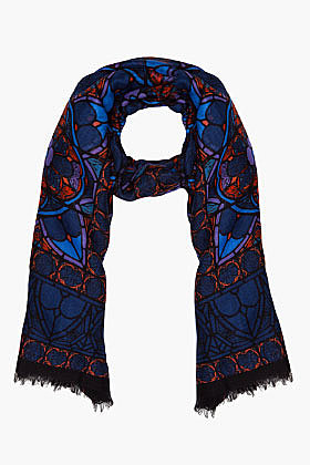 ALEXANDER MCQUEEN Royal Blue Stained Glass Scarf