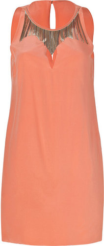 Versace Peach Embellished Silk Dress