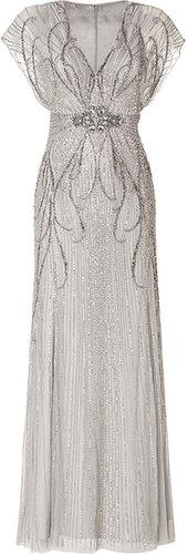 Jenny Packham Sequin Embellished Gown in Platinum