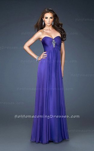 Midnight Blue Long Strapless Sweetheart Chiffon Homecoming Dress Sale