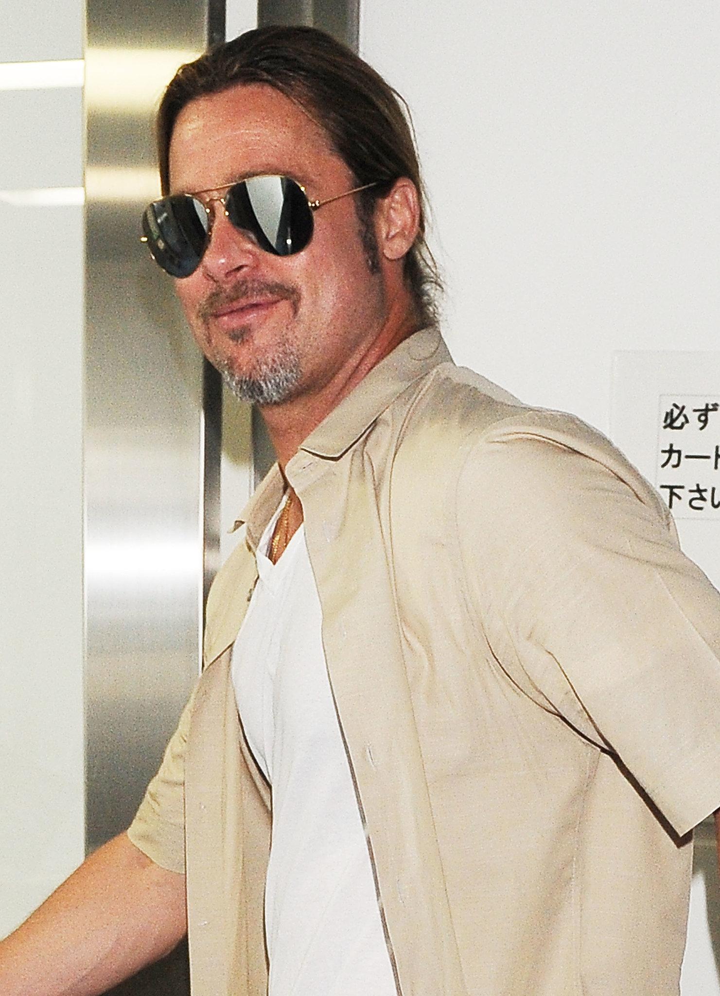 Brad Pitt kept it casual in Tokyo.