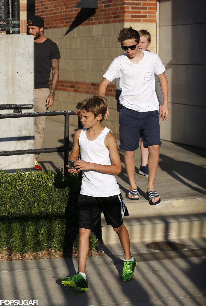 David Beckham left UCLA with his sons Brooklyn and Romeo after watching the Real Madrid practice.