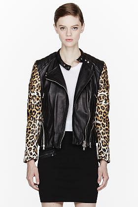 3.1 PHILLIP LIM Black leopard print peplum biker jacket