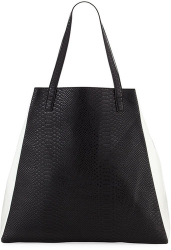 Neiman Marcus Embossed Snake Colorblock Tote, Black/White
