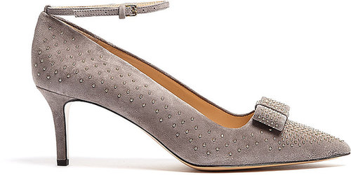 Moschino Cheap & Chic Studded Suede Bow Kitten Heels