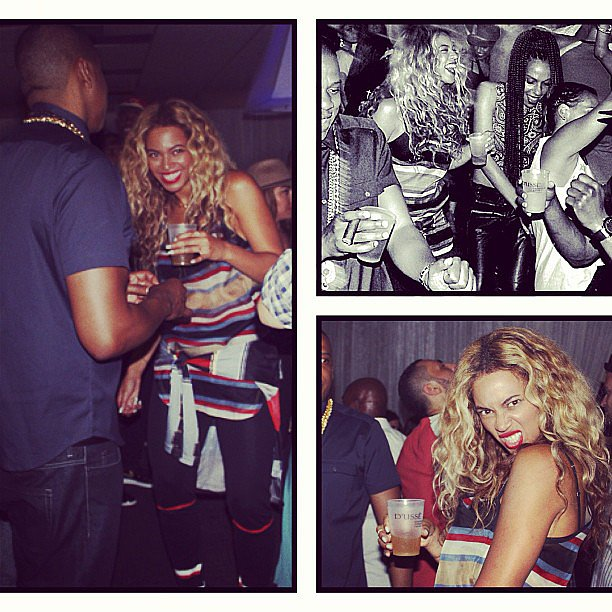 Beyoncé sipped cocktails while partying with her husband, Jay Z. Source: Instagram user beyonce