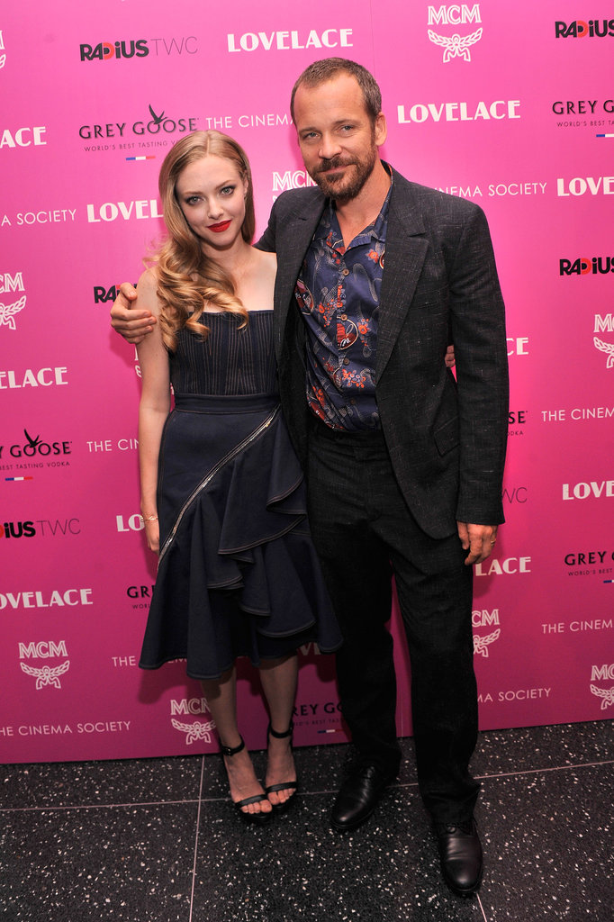 Amanda Seyfried linked up with her Lovelace costar Peter Sarsgaard at their NYC screening.