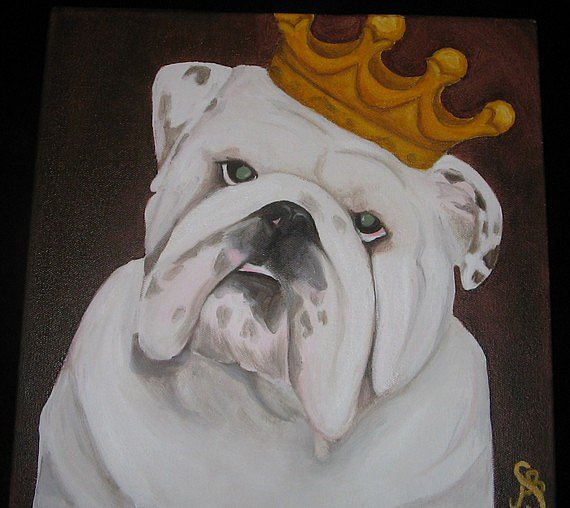 Surely you consider your pooch king of the house, so show it by choosing a portrait like this majestic painting ($75).