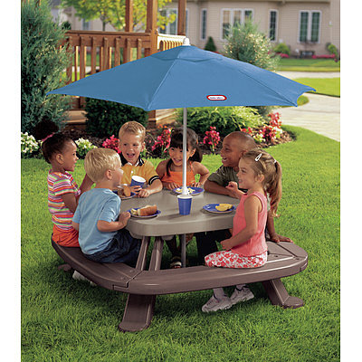 Customize your kids' pint-size picnics with Little Tikes' Fold 'n Store Picnic Table with Market Umbrella ($117, originally $130).