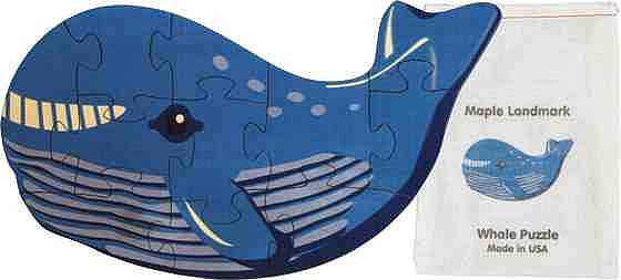An 11-piece wooden whale puzzle ($13, originally $14) by Maple Landmark comes in a drawstring pouch for easy storage.