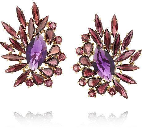 Ana Khouri Brigitte 18-karat gold, amethyst and rhodonite earrings
