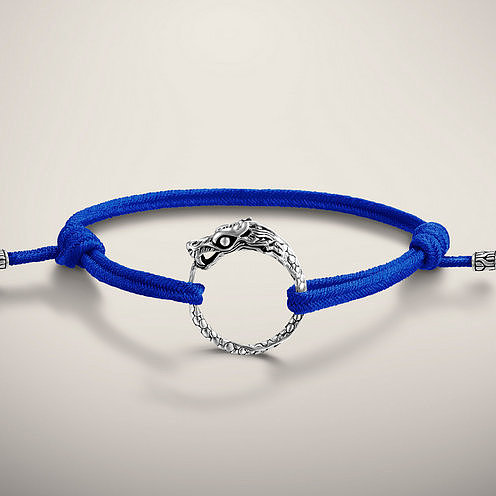 NAGA COLLECTION Dragon Station Bracelet on adjustable Dark Blue Cotton Cord