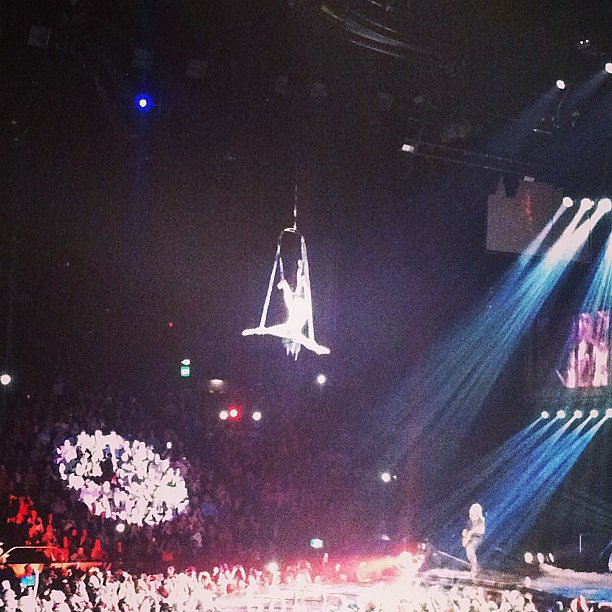 She sings perfectly upside down, while she's spinning around. How? We'll never know, but damn Pink was impressive!