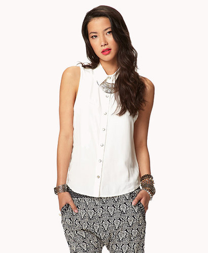 FOREVER 21 Western-Inspired Sleeveless Shirt
