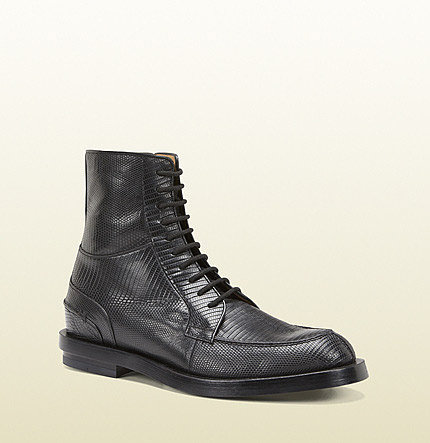 Black Lizard Lace-Up Military Boot