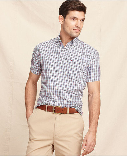 Tommy Hilfiger Shirt, Short Sleeve David Slim Fit Check Shirt