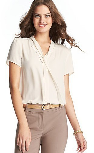 Tie Neck Short Sleeve Blouse