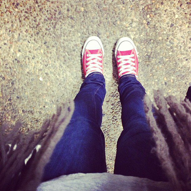 Blue jeans and red cons, what could be comfortable and classic for a Friday? Don't forget to donate to the incredible Jeans for Genes day cause here.