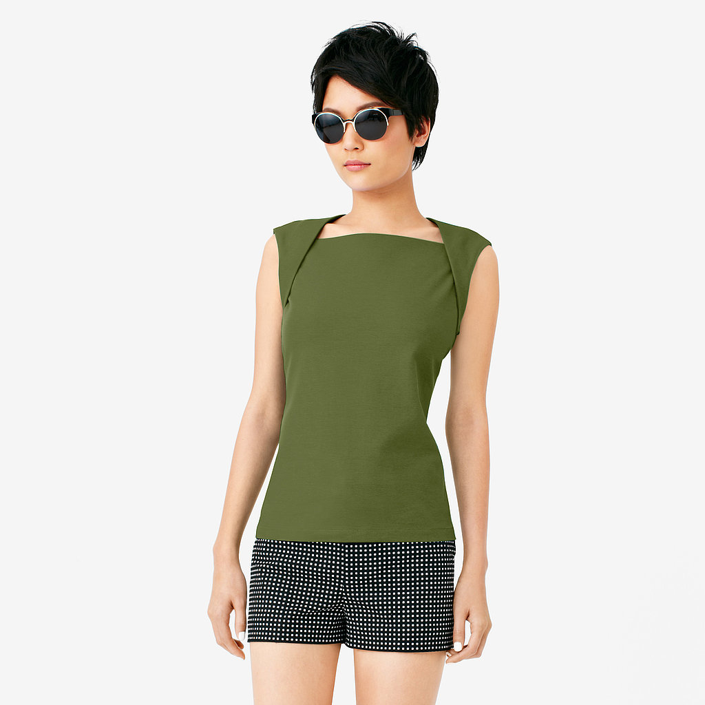 We love the interesting shoulder folds of this Saturday top ($45).